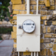 A utility meter shows the current reading of electricity for a home, used to determine the rate of the customer's bill.